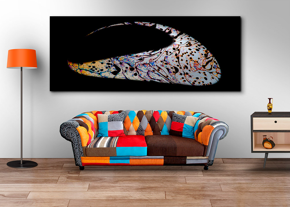Living room framed abstract fine art photograph on wall