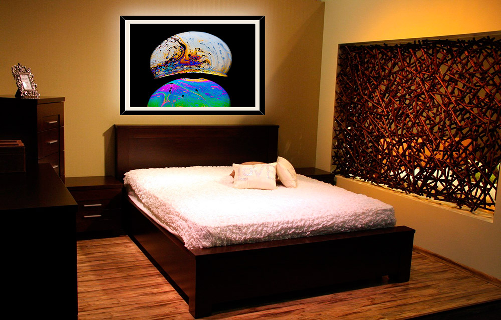 Bedroom with wall decor of fine art photograph
